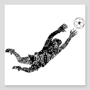 """Vintage Soccer Goalie Square Car Magnet 3"""" x 3"""""""