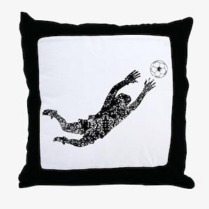 Vintage Soccer Goalie Throw Pillow