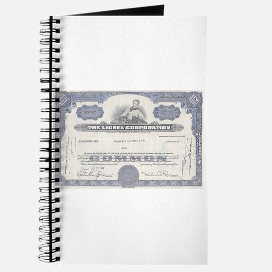 Lionel stock certificate Journal