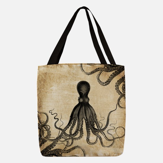 Vintage Octopus Polyester Tote Bag