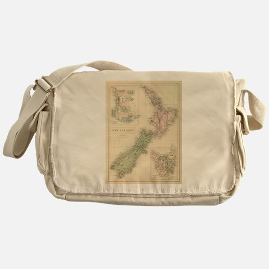 Vintage Map of New Zealand (1854) Messenger Bag