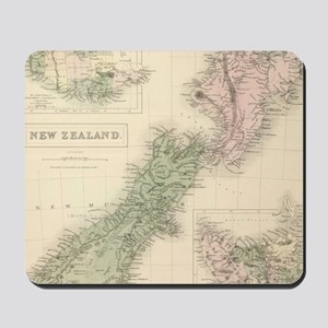 Vintage Map of New Zealand (1854) Mousepad
