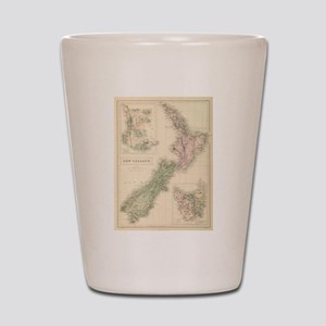 Vintage Map of New Zealand (1854) Shot Glass