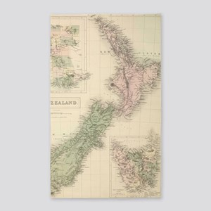 Vintage Map of New Zealand (1854) Area Rug