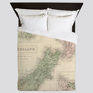 Vintage Map of New Zealand (1854) Queen Duvet