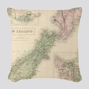 Vintage Map of New Zealand (18 Woven Throw Pillow