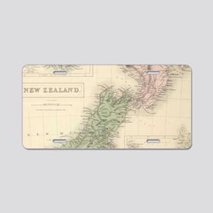Vintage Map of New Zealand Aluminum License Plate