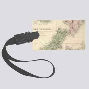 Vintage Map of New Zealand (1854 Large Luggage Tag