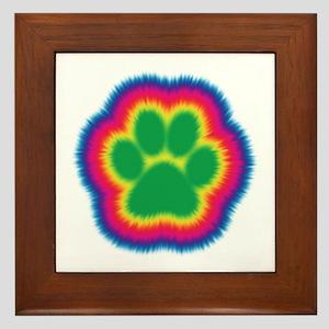 Tye Dye Paw Print Framed Tile