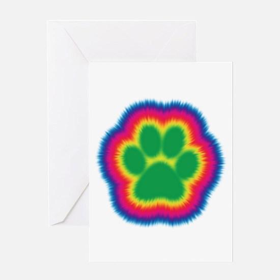 Tye Dye Paw Print Greeting Card