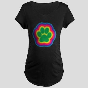 Tye Dye Paw Print Maternity Dark T-Shirt