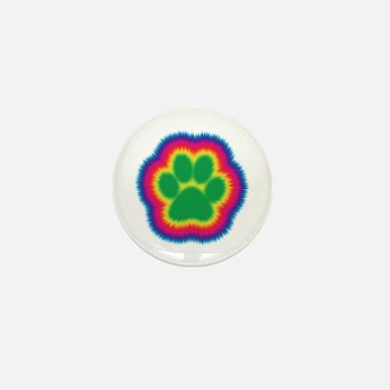 Tye Dye Paw Print Mini Button