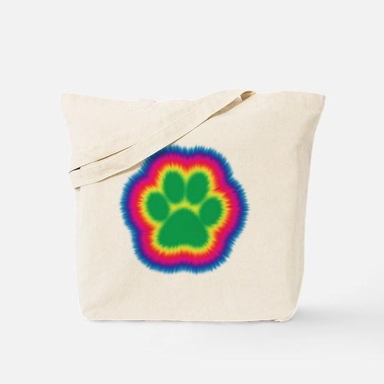 Tye Dye Paw Print Tote Bag
