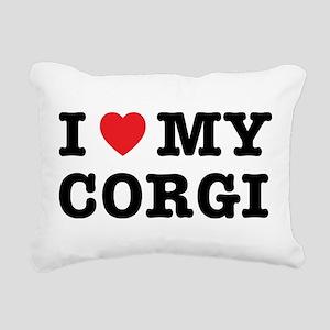 I Heart My Corgi Rectangular Canvas Pillow
