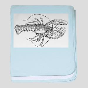 Vintage Lobster illustration baby blanket
