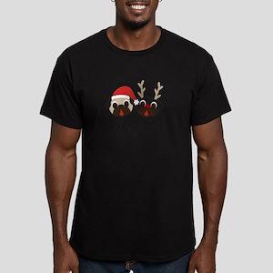 Merry Pugmas Santa & Reindeer Pugs T-Shirt