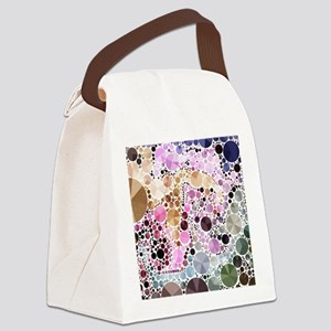 mod circles pattern Canvas Lunch Bag
