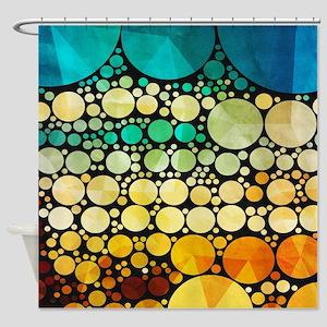 Mod Circles Pattern Shower Curtain