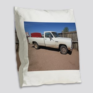 Antique White Truck Burlap Throw Pillow