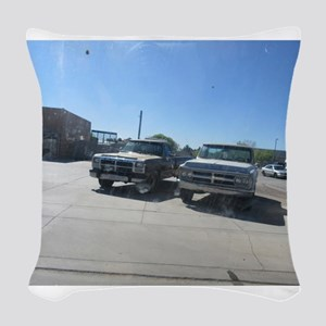 Old Trucks Woven Throw Pillow