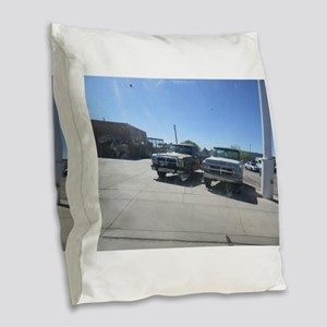 Old Trucks Burlap Throw Pillow