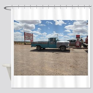 Old Turquoise Truck Shower Curtain