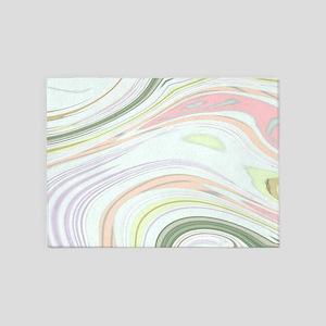 Pastel pink mint Swirl Twist 5'x7'Area Rug