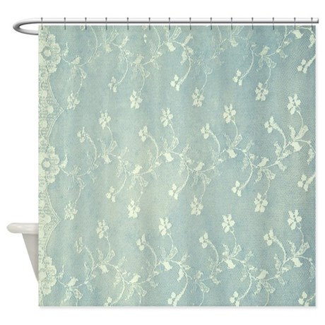 Teal Lace Shower Curtain