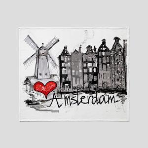 I love Amsterdam Throw Blanket