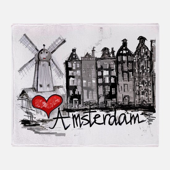 I love Amsterdam Throw Blanket