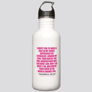 Quote pink white Water Bottle
