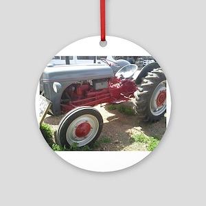 Old Grey Farm Tractor Ornament (Round)