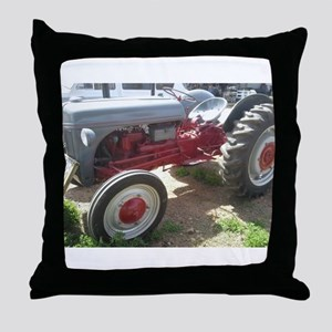 Old Grey Farm Tractor Throw Pillow