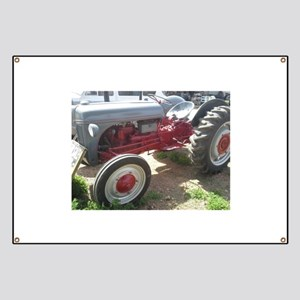 Old Grey Farm Tractor Banner