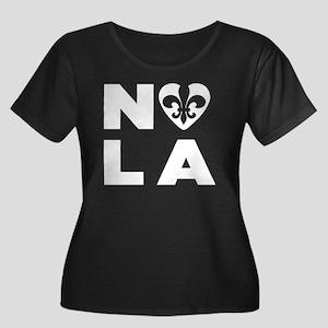 NOLA Women's Plus Size Scoop Neck Dark T-Shirt