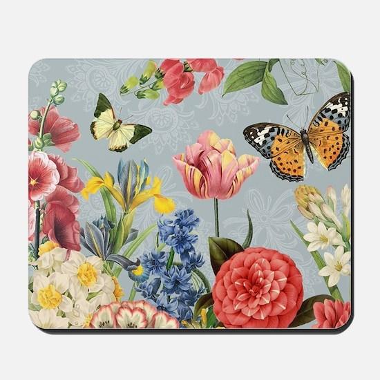 Modern Vintage botanical flowers Mousepad