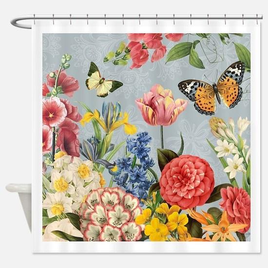 Modern Vintage botanical flowers Shower Curtain