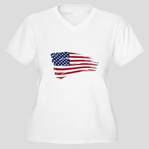 Tattered US Flag Plus Size T-Shirt