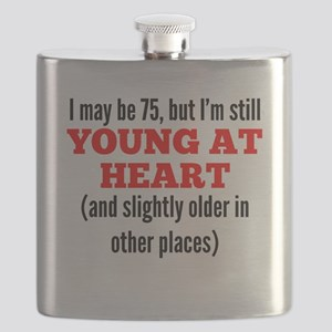 75 Years Old Young At Heart Flask