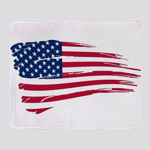 Tattered US Flag Throw Blanket