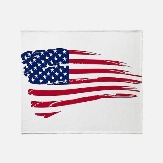 Tattered US Flag Throw Blanket