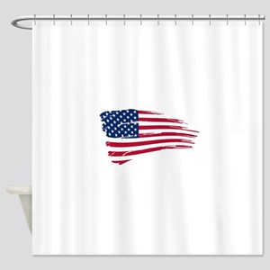Tattered US Flag Shower Curtain