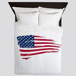 Tattered US Flag Queen Duvet
