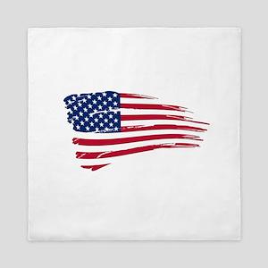 Tattered US Flag Queen Duvet