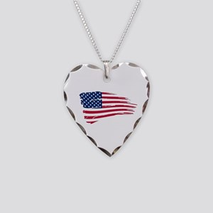 Tattered US Flag Necklace Heart Charm