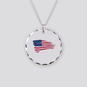 Tattered US Flag Necklace Circle Charm