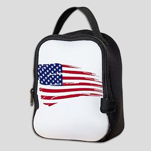 Tattered US Flag Neoprene Lunch Bag