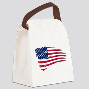 Tattered US Flag Canvas Lunch Bag