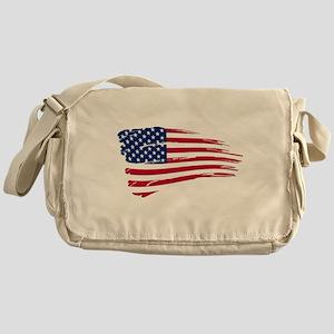 Tattered US Flag Messenger Bag