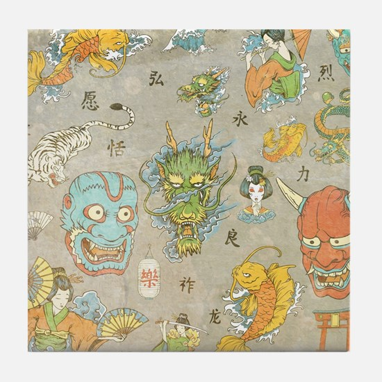 Japanese Collage Tile Coaster